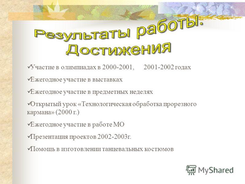 Участие в олимпиадах в 2000-2001, 2001-2002 годах Ежегодное участие в выставках Ежегодное участие в предметных неделях Открытый урок «Технологическая обработка прорезного кармана» (2000 г.) Ежегодное участие в работе МО Презентация проектов 2002-2003
