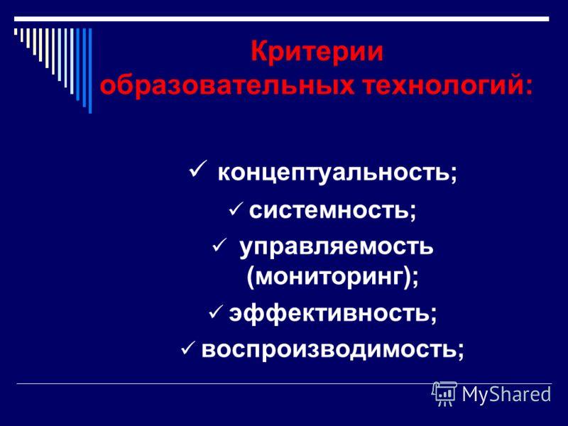 Критерии образовательных технологий: концептуальность; системность; управляемость (мониторинг); эффективность; воспроизводимость;