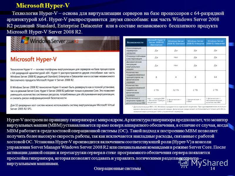 Операционные системы14 Microsoft Hyper-V Технология Hyper-V – основа для виртуализации серверов на базе процессоров с 64-разрядной архитектурой х64. Hyper-V распространяется двумя способами: как часть Windows Server 2008 R2 редакций Standard, Enterpr