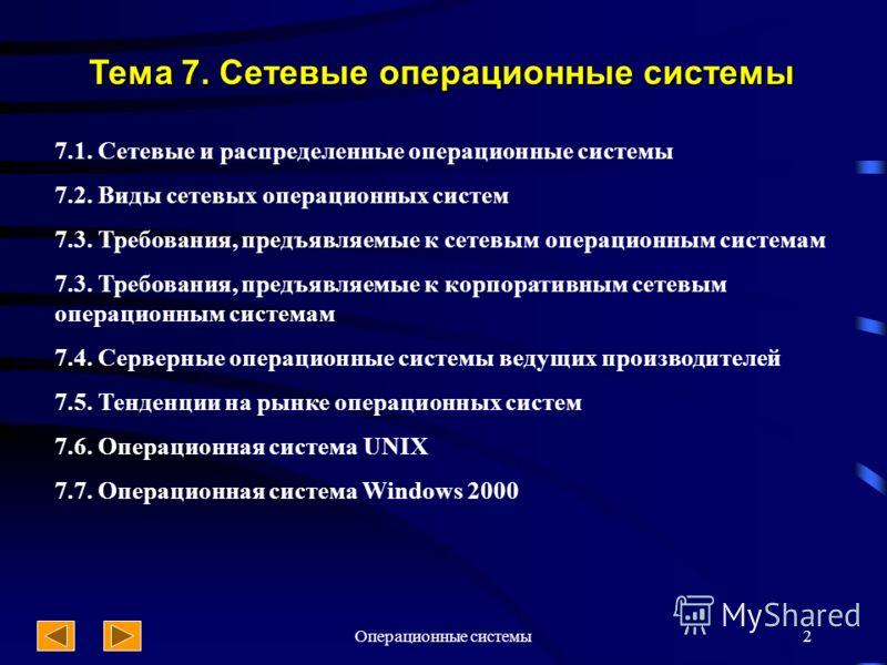 Операционные системы2 Тема 7. Сетевые операционные системы 7.1. Сетевые и распределенные операционные системы 7.2. Виды сетевых операционных систем 7.3. Требования, предъявляемые к сетевым операционным системам 7.3. Требования, предъявляемые к корпор