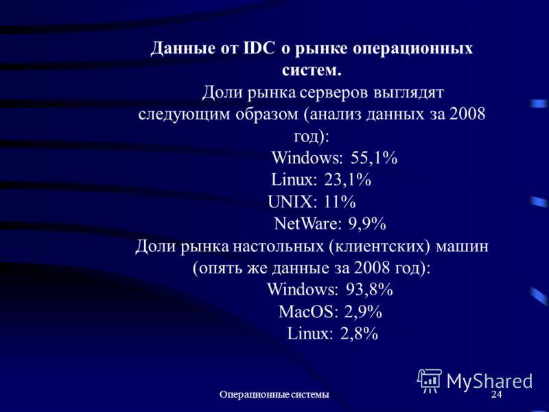 Операционные системы24 Данные от IDC о рынке операционных систем. Доли рынка серверов выглядят следующим образом (анализ данных за 2008 год): Windows: 55,1% Linux: 23,1% UNIX: 11% NetWare: 9,9% Доли рынка настольных (клиентских) машин (опять же данны