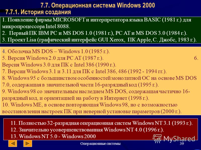 Операционные системы39 7.7.1. История создания 7.7. Операционная система Windows 2000 1. Появление фирмы MICROSOFT и интерпретатора языка BASIC (1981 г.) для микропроцессора Intel 8088. 2. Первый ПК IBM PC и MS DOS 1.0 (1981 г.), PC AT и MS DOS 3.0 (
