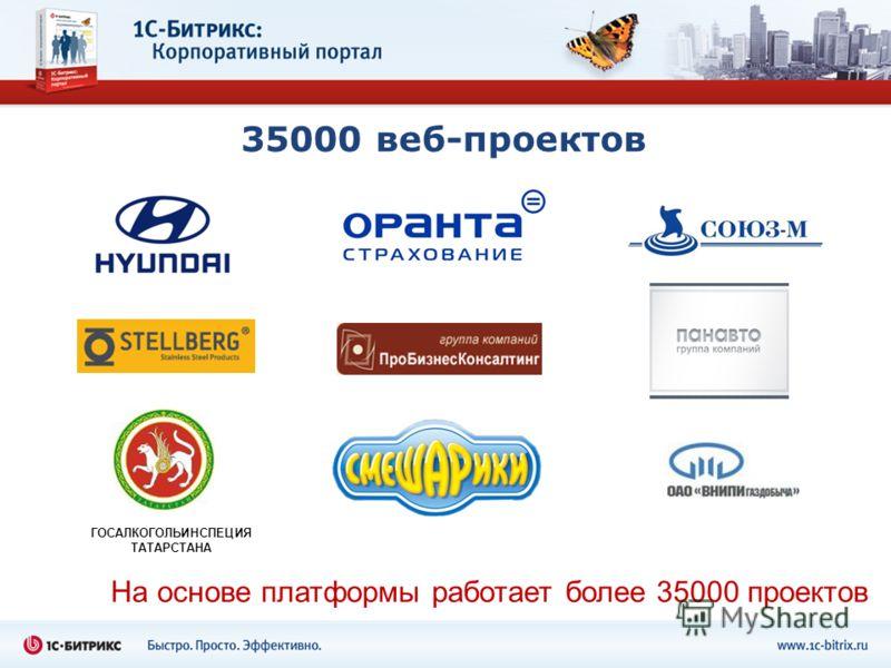 35000 веб-проектов На основе платформы работает более 35000 проектов ГОСАЛКОГОЛЬИНСПЕЦИЯ ТАТАРСТАНА