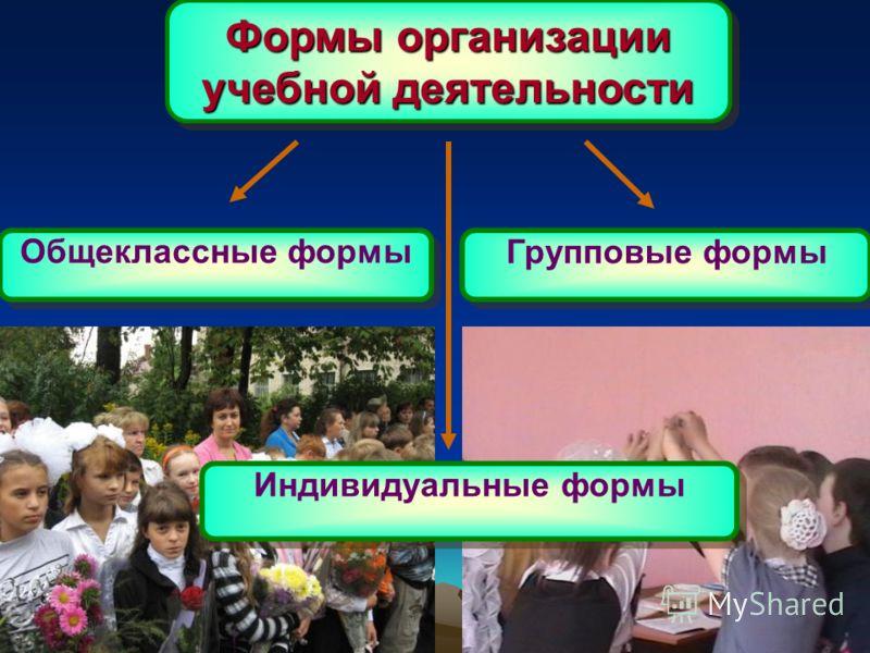 Формы организации учебной деятельности Общеклассные формы Групповые формы Индивидуальные формы