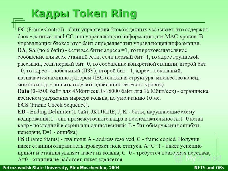 Petrozavodsk State University, Alex Moschevikin, 2004NETS and OSs Кадры Token Ring FC (Frame Control) - байт управления блоком данных указывает, что содержит блок - данные для LCC или управляющую информацию для MAC уровня. В управляющих блоках этот б