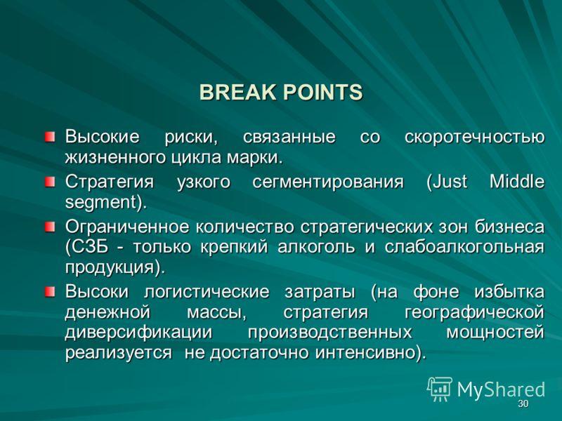 30 BREAK POINTS Высокие риски, связанные со скоротечностью жизненного цикла марки. Стратегия узкого сегментирования (Just Middle segment). Ограниченное количество стратегических зон бизнеса (СЗБ - только крепкий алкоголь и слабоалкогольная продукция)