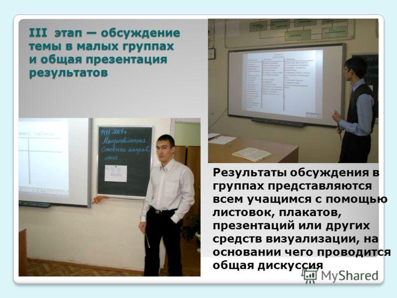 III этап обсуждение темы в малых группах и общая презентация результатов Результаты обсуждения в группах представляются всем учащимся с помощью листовок, плакатов, презентаций или других средств визуализации, на основании чего проводится общая дискус