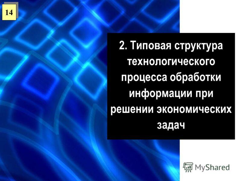 2. Типовая структура технологического процесса обработки информации при решении экономических задач 14
