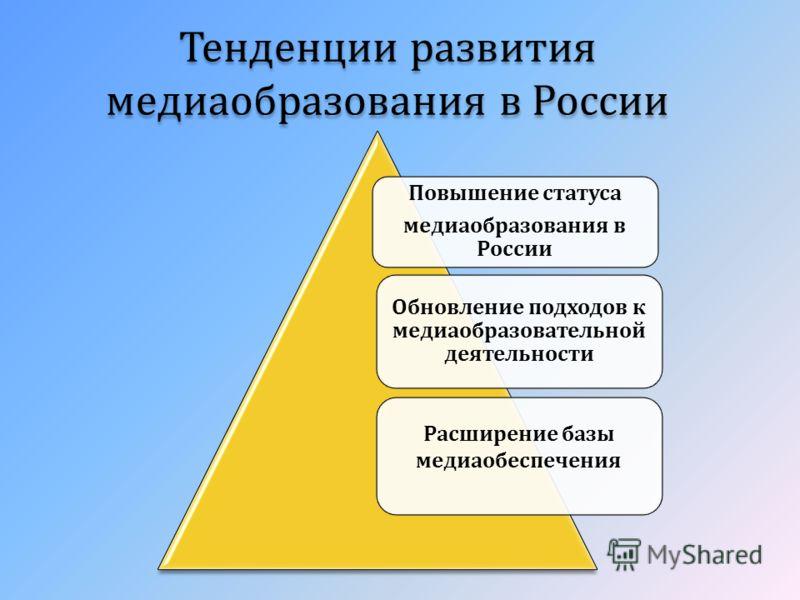 Тенденции развития медиаобразования в России Повышение статуса медиаобразования в России Обновление подходов к медиаобразовательной деятельности Расширение базы медиаобеспечения