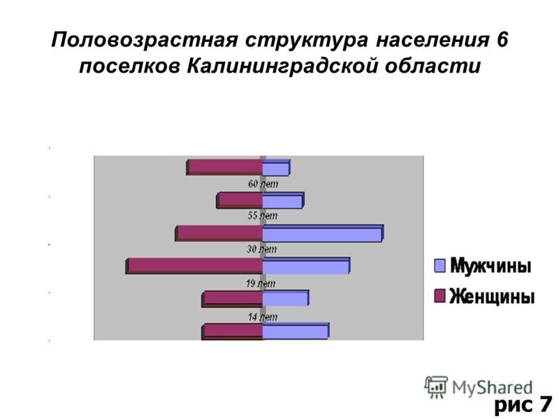 Половозрастная структура населения 6 поселков Калининградской области рис 7