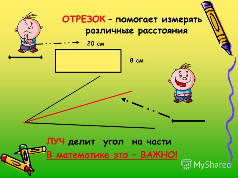 ОТРЕЗОК – помогает измерять различные расстояния 20 см 8 см ЛУЧ делит угол на части В математике это – ВАЖНО!