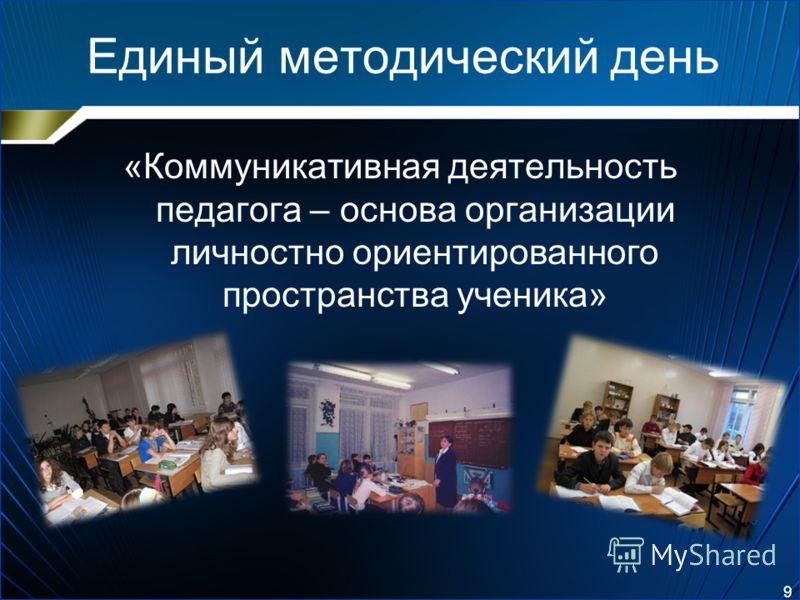 Единый методический день «Коммуникативная деятельность педагога – основа организации личностно ориентированного пространства ученика» 9
