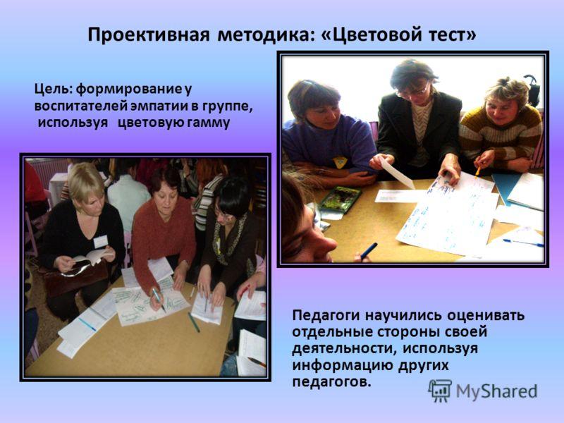 Проективная методика: «Цветовой тест» Цель: формирование у воспитателей эмпатии в группе, используя цветовую гамму Педагоги научились оценивать отдельные стороны своей деятельности, используя информацию других педагогов.