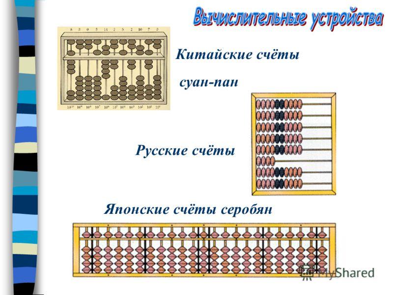 Счеты Саломинская доска (VI-V ст. до н.э.) – Греческие счёты. Доску посипали морским песком, а в нём делали углубления, на которых камешками обозначали числа. Одно углубление отвечает единицам, другое – десяткам и т.д.. Первая находка Вестонийская ко