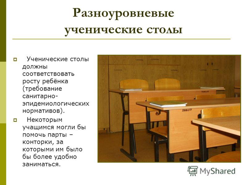 Разноуровневые ученические столы Ученические столы должны соответствовать росту ребёнка (требование санитарно- эпидемиологических нормативов). Некоторым учащимся могли бы помочь парты – конторки, за которыми им было бы более удобно заниматься.