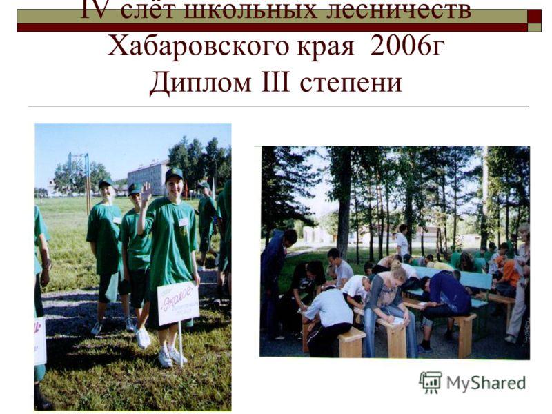 IV слёт школьных лесничеств Хабаровского края 2006г Диплом III степени