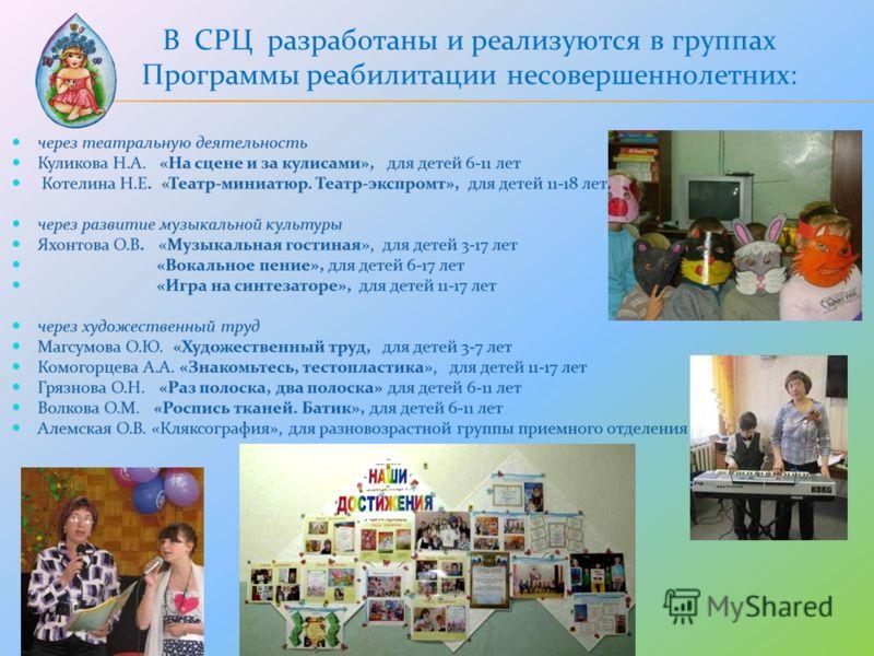 В СРЦ разработаны и реализуются в группах Программы реабилитации несовершеннолетних: