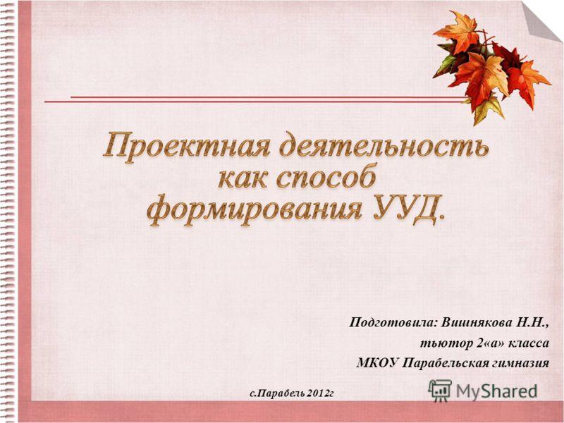 Подготовила: Вишнякова Н.Н., тьютор 2«а» класса МКОУ Парабельская гимназия с.Парабель 2012г