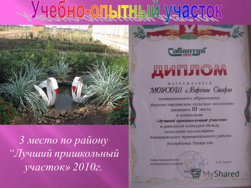 3 место по району Лучший пришкольный участок» 2010г.