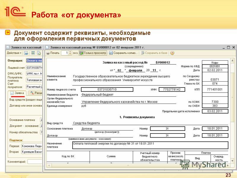 23 Работа «от документа» Документ содержит реквизиты, необходимые для оформления первичных документов