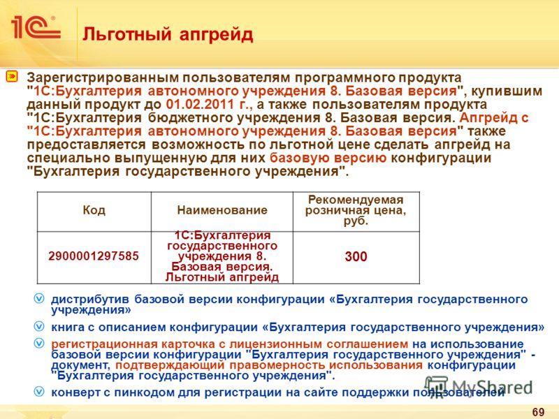 69 Льготный апгрейд Зарегистрированным пользователям программного продукта