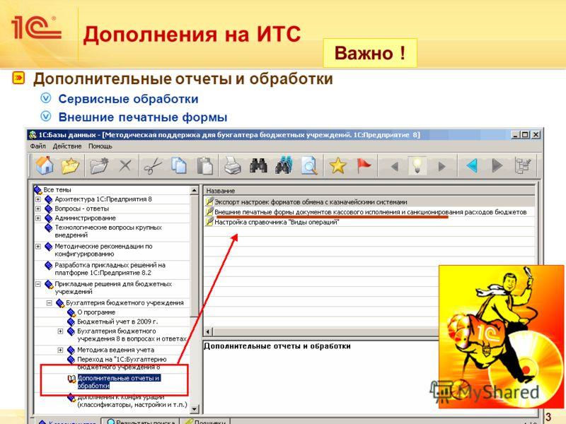 93 Дополнения на ИТС Дополнительные отчеты и обработки Сервисные обработки Внешние печатные формы Важно !