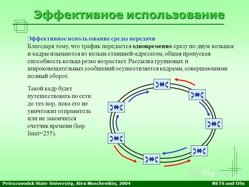 Petrozavodsk State University, Alex Moschevikin, 2004NETS and OSs Эффективное использование Эффективное использование среды передачи Благодаря тому, что трафик передается одновременно сразу по двум кольцам и кадры изымаются из кольца станцией-адресат