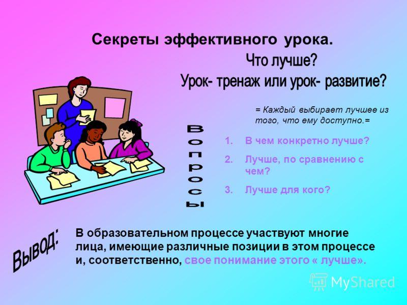 Секреты эффективного урока. = Каждый выбирает лучшее из того, что ему доступно.= 1.В чем конкретно лучше? 2.Лучше, по сравнению с чем? 3.Лучше для кого? В образовательном процессе участвуют многие лица, имеющие различные позиции в этом процессе и, со