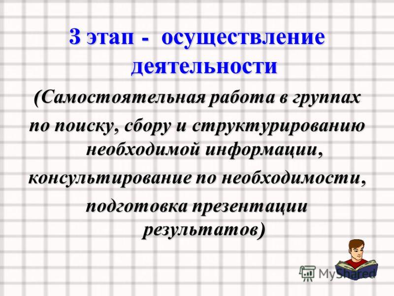 3 этап - осуществление деятельности ( Самостоятельная работа в группах по поиску, сбору и структурированию необходимой информации, консультирование по необходимости, подготовка презентации результатов )