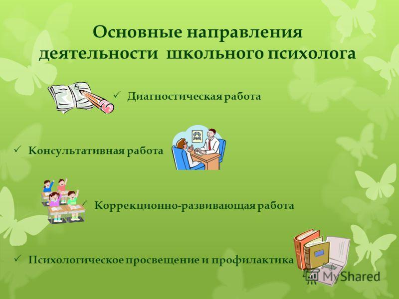Основные направления деятельности школьного психолога Диагностическая работа Консультативная работа Коррекционно-развивающая работа Психологическое просвещение и профилактика