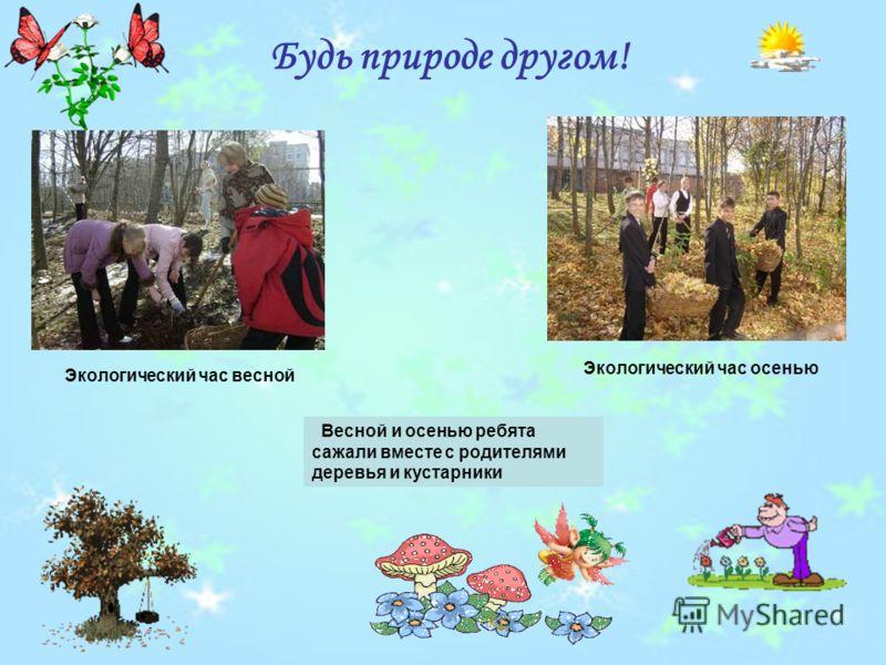 Будь природе другом! Экологический час осенью Экологический час весной Весной и осенью ребята сажали вместе с родителями деревья и кустарники