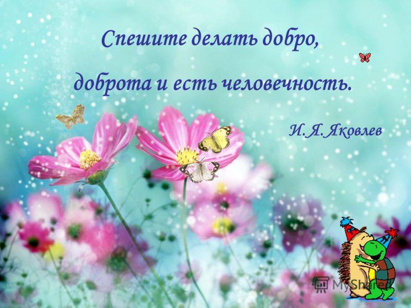 Спешите делать добро, доброта и есть человечность. И. Я. Яковлев