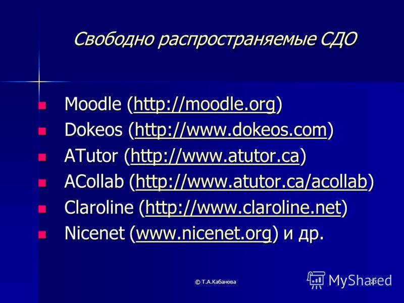 © Т.А.Кабанова23 Свободно распространяемые СДО Moodle (http://moodle.org) Moodle (http://moodle.org)http://moodle.org Dokeos (http://www.dokeos.com) Dokeos (http://www.dokeos.com)http://www.dokeos.comhttp://www.dokeos.com ATutor (http://www.atutor.ca