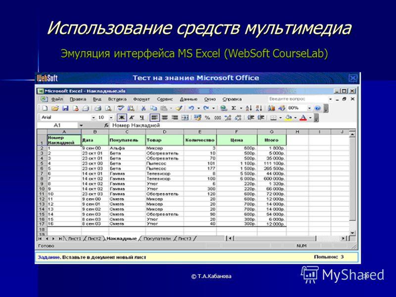 © Т.А.Кабанова30 Использование средств мультимедиа Эмуляция интерфейса MS Excel (WebSoft CourseLab)