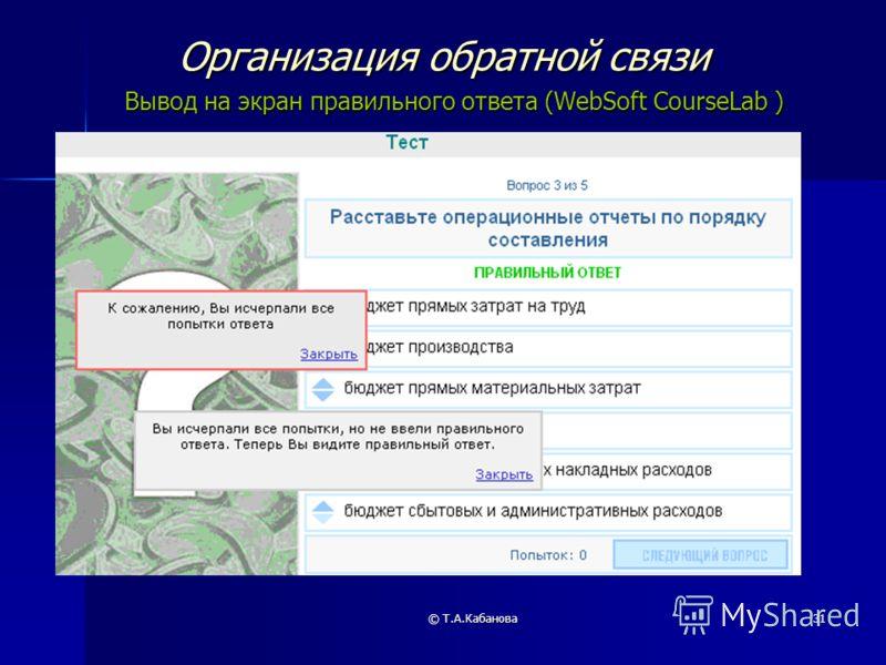 © Т.А.Кабанова31 Организация обратной связи Вывод на экран правильного ответа (WebSoft CourseLab )