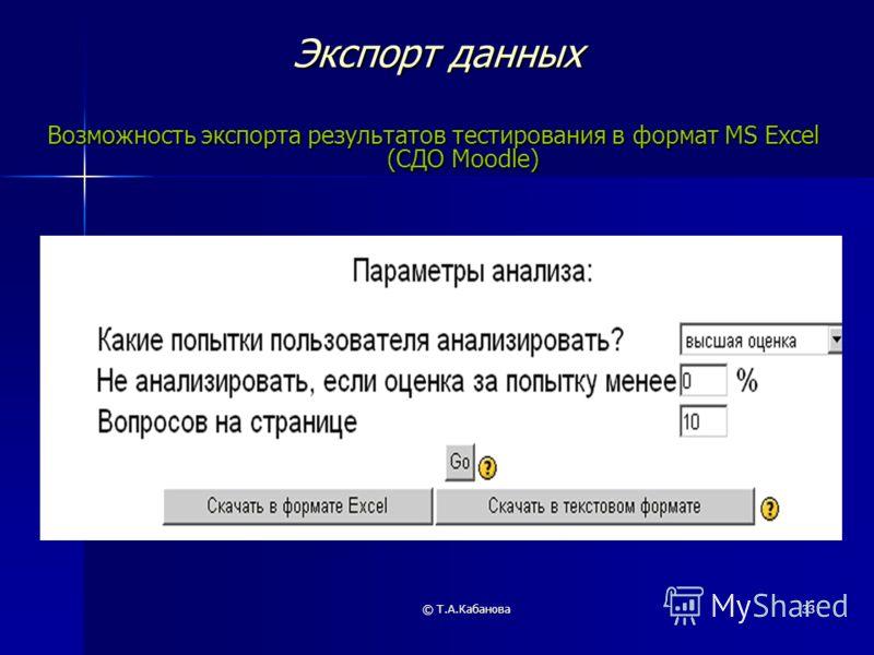 © Т.А.Кабанова33 Экспорт данных Возможность экспорта результатов тестирования в формат MS Excel (СДО Moodle)