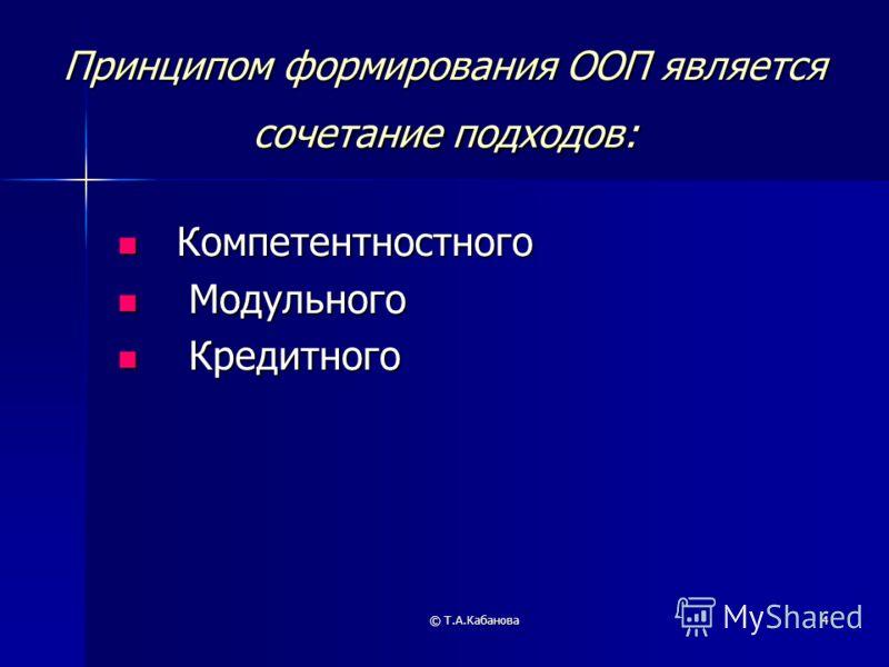 © Т.А.Кабанова4 Принципом формирования ООП является сочетание подходов: Компетентностного Компетентностного Модульного Модульного Кредитного Кредитного