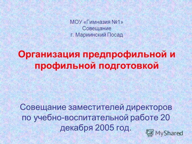 1 МОУ «Гимназия 1» Совещание г. Мариинский Посад Организация предпрофильной и профильной подготовкой Совещание заместителей директоров по учебно-воспитательной работе 20 декабря 2005 год.