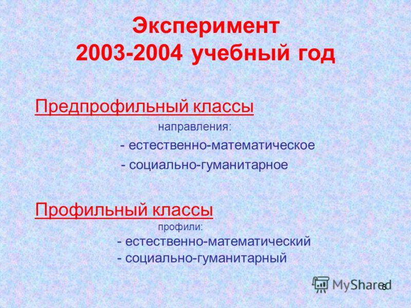 6 Эксперимент 2003-2004 учебный год Предпрофильный классы направления: - естественно-математическое - социально-гуманитарное Профильный классы профили: - естественно-математический - социально-гуманитарный