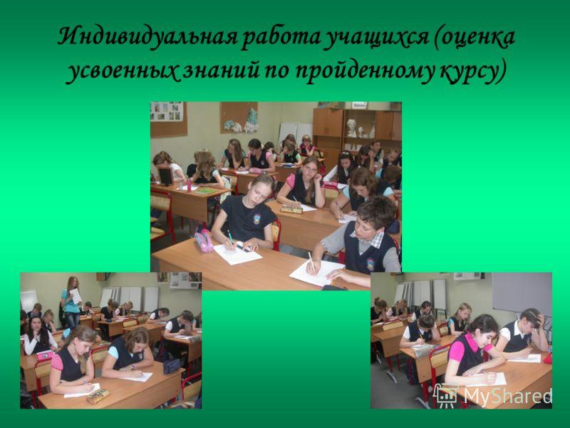 Индивидуальная работа учащихся (оценка усвоенных знаний по пройденному курсу)