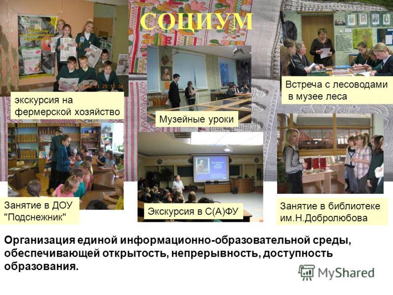 СОЦИУМ Организация единой информационно-образовательной среды, обеспечивающей открытость, непрерывность, доступность образования. Занятие в ДОУ