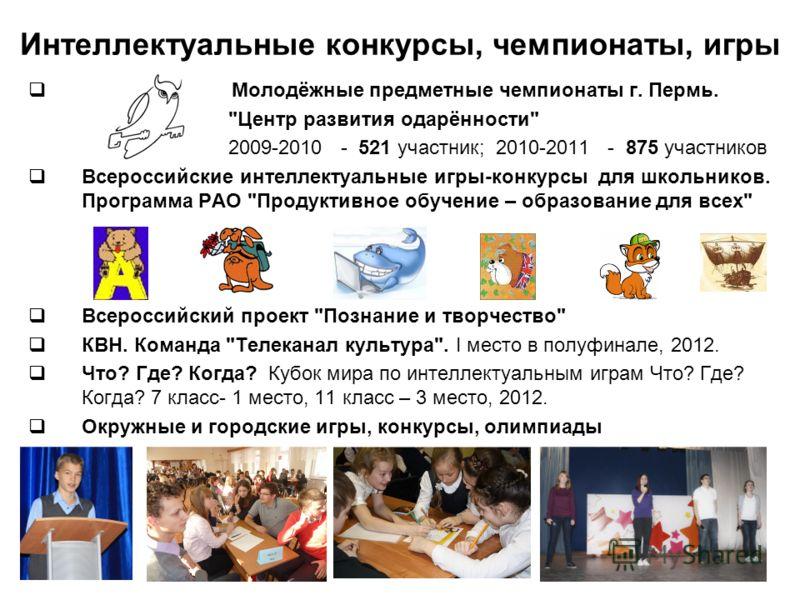 Интеллектуальные конкурсы, чемпионаты, игры Молодёжные предметные чемпионаты г. Пермь.