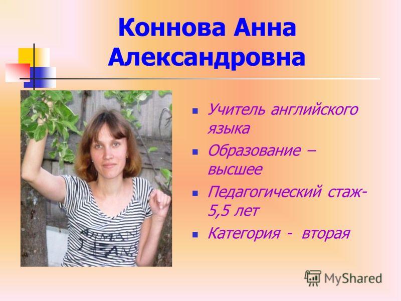Коннова Анна Александровна Учитель английского языка Образование – высшее Педагогический стаж- 5,5 лет Категория - вторая