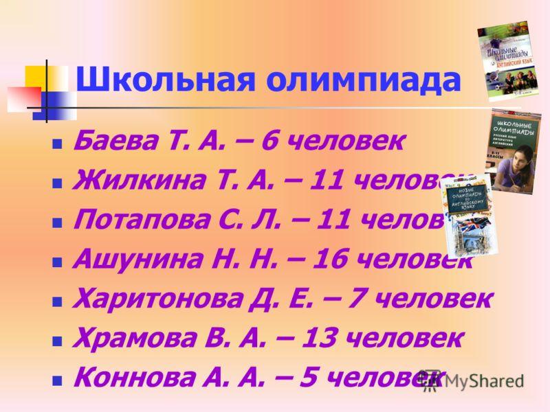 Школьная олимпиада Баева Т. А. – 6 человек Жилкина Т. А. – 11 человек Потапова С. Л. – 11 человек Ашунина Н. Н. – 16 человек Харитонова Д. Е. – 7 человек Храмова В. А. – 13 человек Коннова А. А. – 5 человек