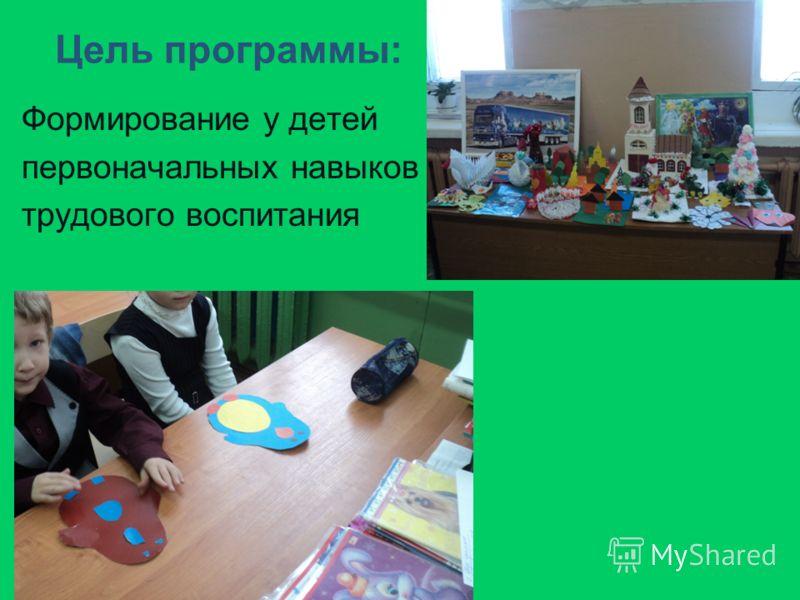 Цель программы: Формирование у детей первоначальных навыков трудового воспитания