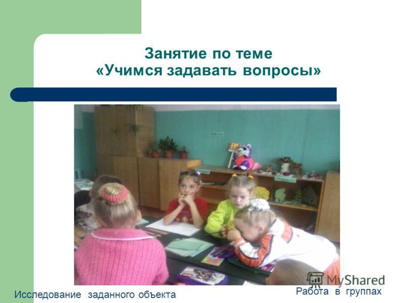 Занятие по теме «Учимся задавать вопросы» Исследование заданного объекта Работа в группах