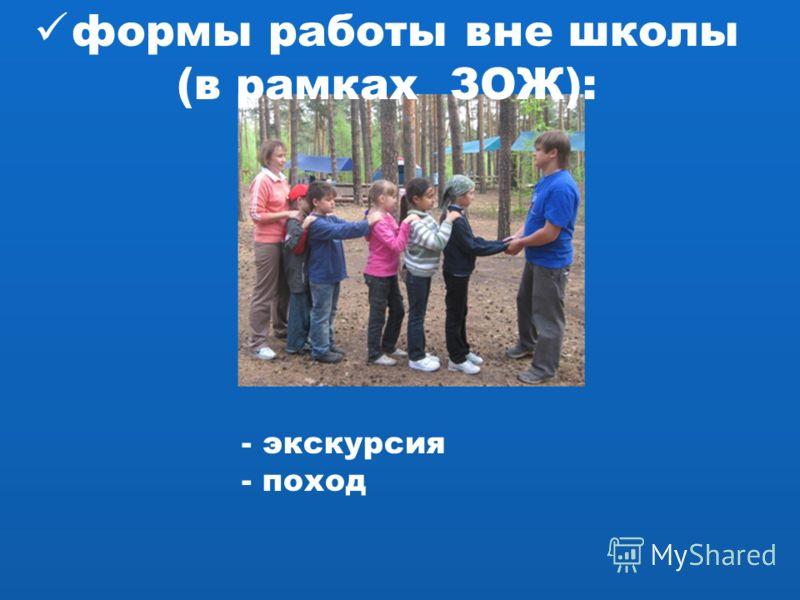 формы работы вне школы (в рамках ЗОЖ): - экскурсия - поход