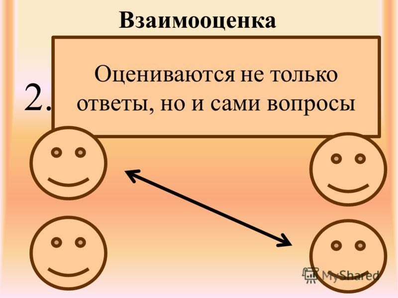 Взаимооценка 2. Оцениваются не только ответы, но и сами вопросы
