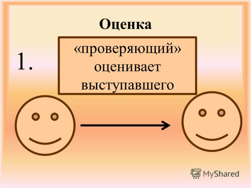Оценка 1. «проверяющий» оценивает выступавшего