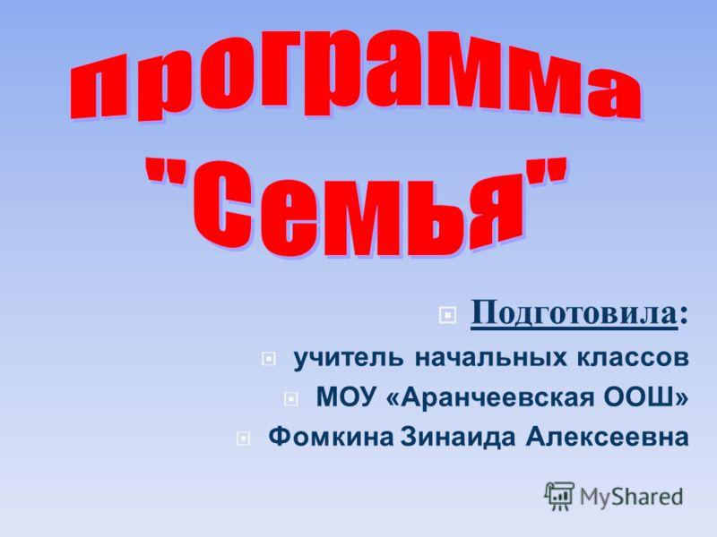 Подготовила : учитель начальных классов МОУ «Аранчеевская ООШ» Фомкина Зинаида Алексеевна